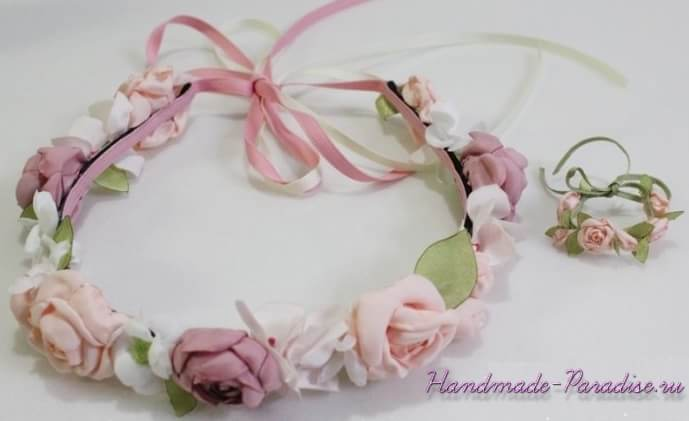 diadema de rosas para muecas patrones gratis - Diademas De Tela