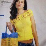 Blusa amarilla con bolso a juego