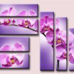 Triptico primaveral de orquídeas a punto de cruz