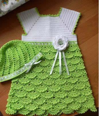 vestidos tejidos a gancho para niña
