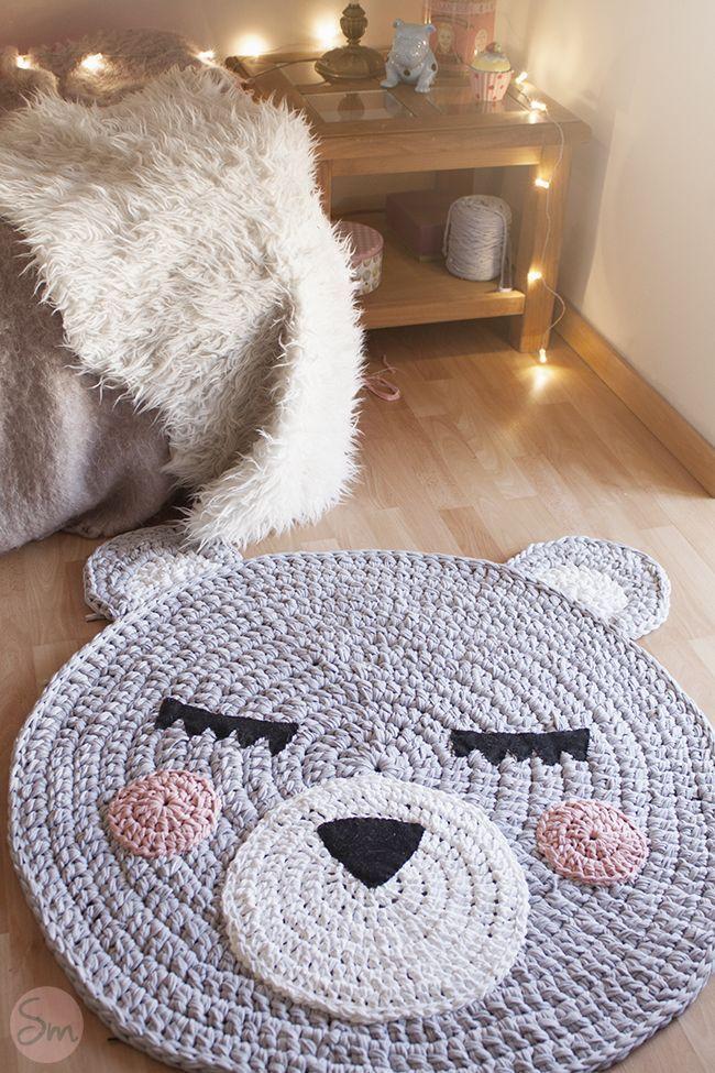 Alfombra con cara de oso tejida a trapillo patrones gratis for Alfombras caras
