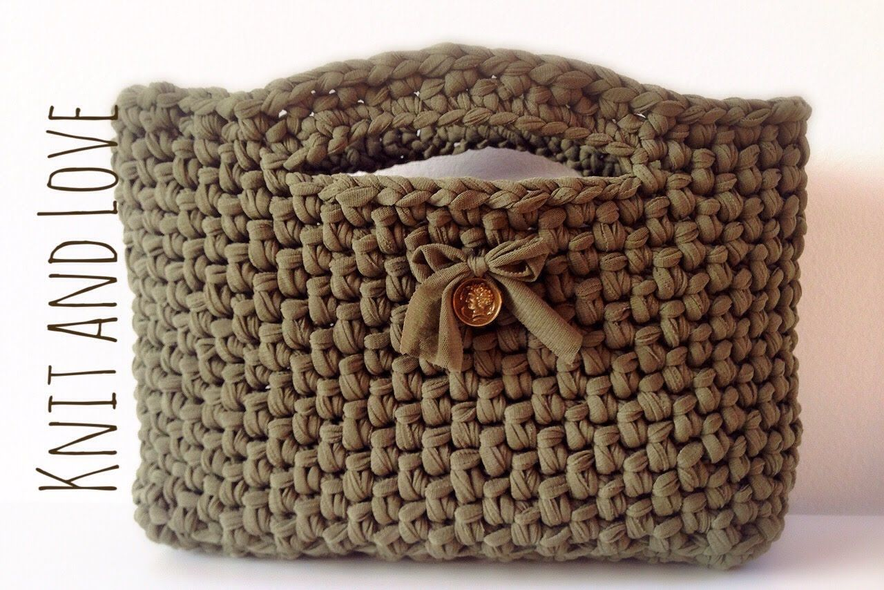 Bolso de fettuccia a crochet patrones gratis for Bolso crochet trapillo