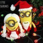 Minions amigurumi vestidos para Navidad