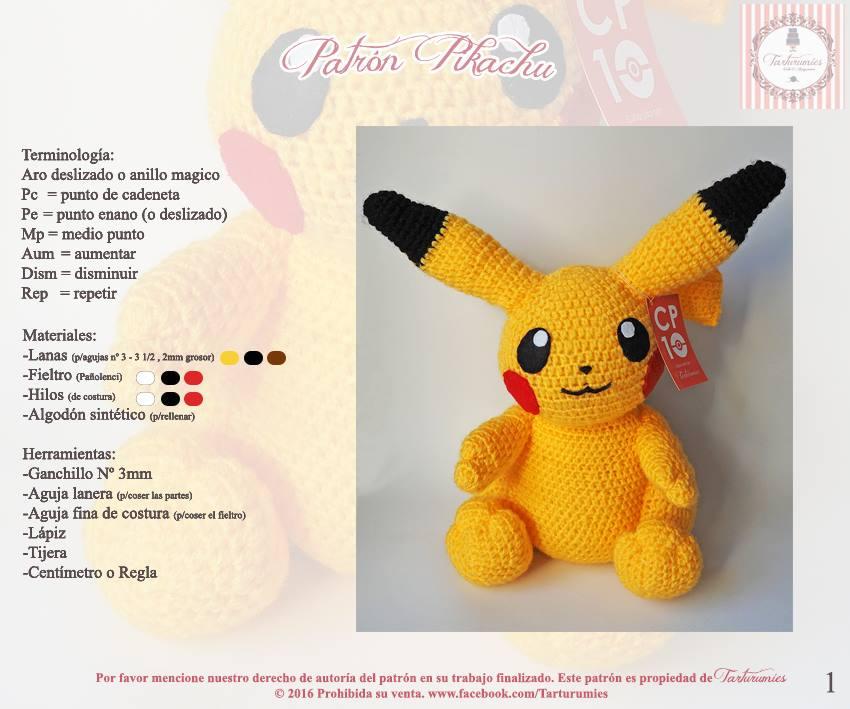 Patron pikachu 1 - Patrones gratis