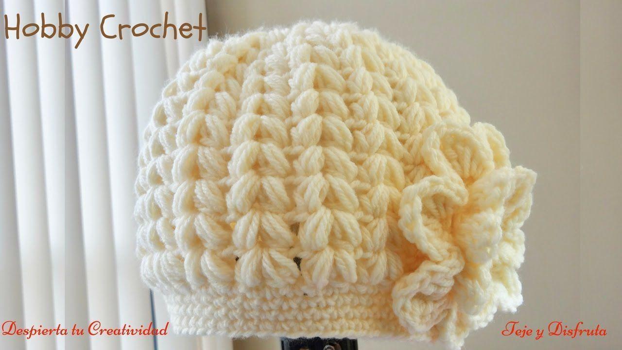 Gorro a crochet en punto puff en forma de espiga - Como empezar a hacer punto paso a paso ...