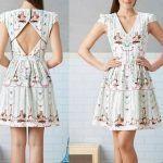Patrón de vestido con escote pico y abertura en la espalda