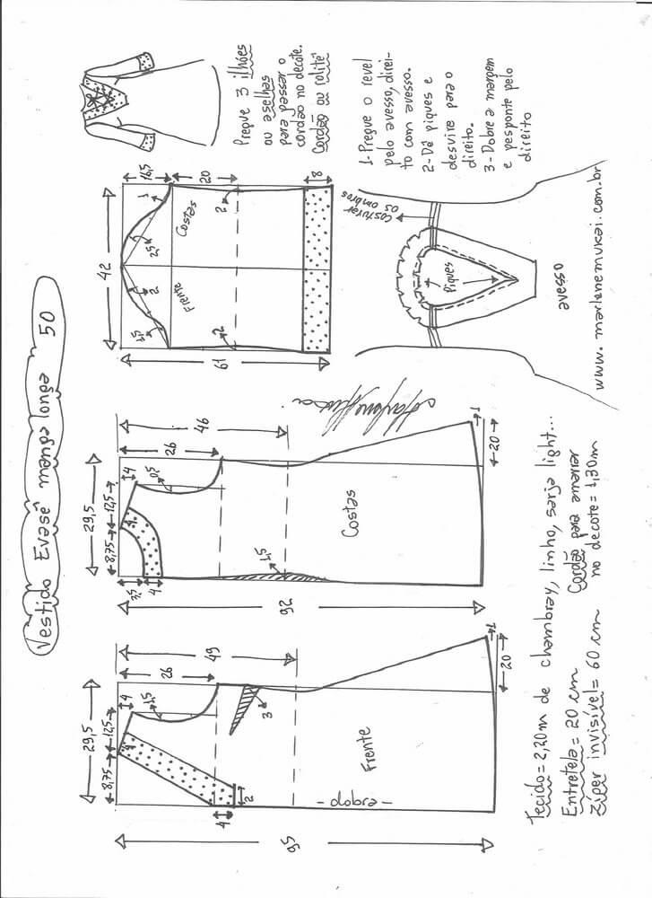 vestido-acampanado-manga-larga-50 - Patrones gratis