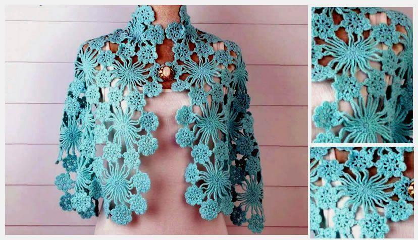 Chal-Azul-Cielo-en-Crochet - Patrones gratis