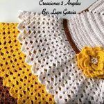 Vestido de volantes tejido a crochet para niñas