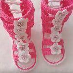 DIY Gladiadoras tejidas a crochet para bebé