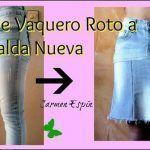DIY Convertir pantalón jeans roto en falda