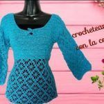 Blusa primavera tejida a crochet