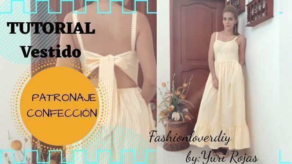Patrón y confección de vestido con lazo en espalda