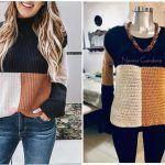 DIY Suéter combinado tejido a crochet