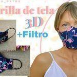 Mascarilla 3D con filtro tutorial y patrón