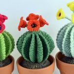 Cactus redondo a crochet con flores