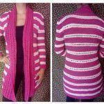 Cárdigan rosa tejido a crochet Fácil y Rápido