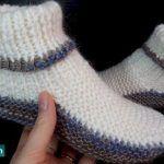 Pantuflas tejida a dos agujas fácil