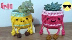 Macetero tejido a crochet