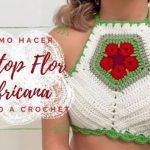 Top Flor africana tejida a crochet DIY paso a paso