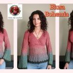 DIY Blusa bohemia cruzada tejida a crochet
