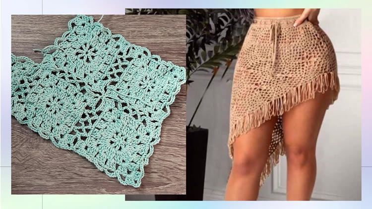 Falda a crochet con granny DIY paso a paso