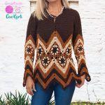Túnica blusa Zigzag tejida a crochet DIY